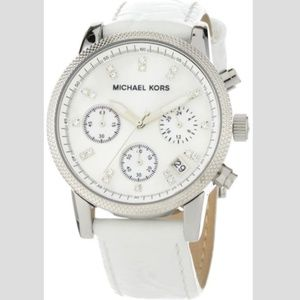 MK5049 White Leather Round Chronograph Watch